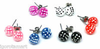 Pair Dice Ear Studs UV Acrylic Chic Punk Earrings Men Women