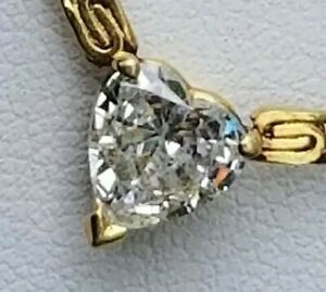 """1.11 Ct. Heart-shaped Diamond Solitaire Pendant 14k Yellow Gold 16"""" Necklace 10g"""