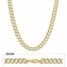 """10.70mm 24"""" 74 gm 14k Gold Two Tone Men's Heavy Cuban White Pave Necklace Chain"""