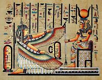 Egyptian Hand-painted Papyrus Artwork: Winged Maat & Hathor * Imported