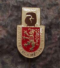 1983 Czechoslovakia Boxing Title Fight Usti nad Labem Glove Lion Pin Badge