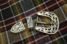 """Fleming Sterling Silver Filigree Rope Edged Dress 3 pc Belt Buckle Set * 1"""" belt"""