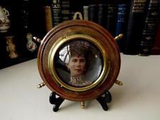 Antique Photo Frame With Bulls Eye Glass - Wood & Brass Ships Wheel Photo Frame