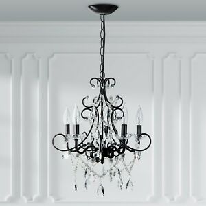 5 Light Crystal Chandelier Plug In Swag Pendant Hanging Lighting Fixture Lamp