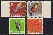 ECUADOR #634-637 MNH BIRDS; MACAW, TOUCAN, CONDOR & HUMMINGBIRDS BACK SHOWN