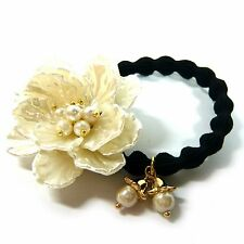 Ivory Plastic Flower Faux Pearl Elastic Ponytail Holder Hair Tie Band Rope Ring