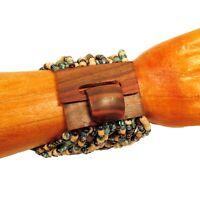Blue Aqua Multi Handmade Beaded Stretch Wood Buckle Seed Bead Cuff Bracelet