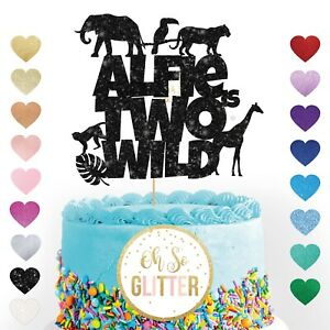 jungle animals two wild personalised glitter cake topper customised 2nd birthday