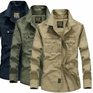 New Men's Military Long Sleeve Casual Cotton T Shirt Work Cargo Shirt Loose Tops