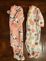 Bundle Lot Of 2 Fleece Infant Baby Girl Size Newborn Sleeper Bodysuits