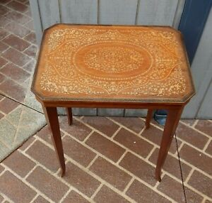 VINTAGE ITALIAN INLAYED VENEER OCCASIONAL SIDE TABLE