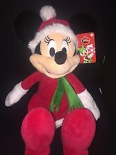 "Disney Minnie Mouse Santa Fur Dress Gift Plush 18"" H Doll Christmas Holiday NWT"