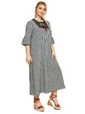 20 22 24 26 PLUS GINGHAM COOL LOOSE FIT DRESS TUNIC EMBROIDERY PEASANT GYPSY TTS