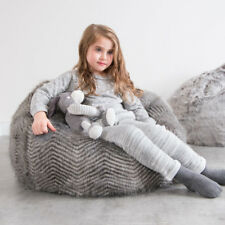102f51b562 LARGE Children s Bean Bag Chair Kids Classic Luxury Faux Fur Chevron Grey