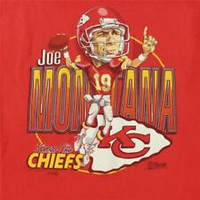 vtg 90's usa made JOE MONTANA kansas city chiefs t-shirt size MEDIUM nfl cartoon