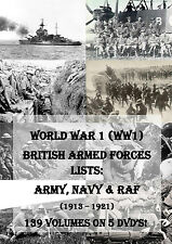 BRITISH WORLD WAR 1 REGIMENT LISTS - WW1 MEDAL RESEARCH ANCESTRY HISTORY RECORDS