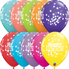"Happy Birthday Dots Multi Colour 11"" Latex Balloons (Qualatex Helium)"