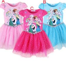 New Hot Kids Girls Frozen Dresses Princess Anna Elsa Party Casual Summer Dress