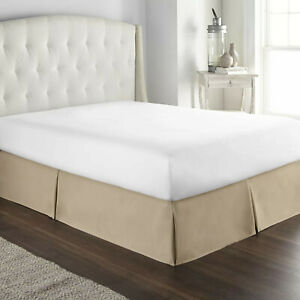 Veratex Taupe Brown Queen Bed Skirt Dust Ruffle Pleated Sides Tailored Classic