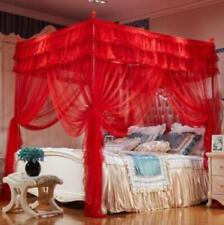 New Wedding Red Luxury Hight  4 Post Bed Curtain Canopy Mosquito Nets Home Use