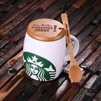 Personalized 16 oz Ceramic Starbucks Mug w/Bamboo Lid & Spoon White, Red & Black