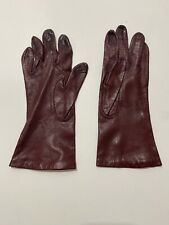 Vintage Aris Gloves Leather 7.5 Maroon Lined