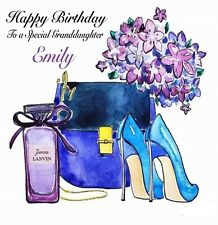 Personalised Jeanne Lanvin Paris Handbag & Shoes Birthday Card Any Name/Age
