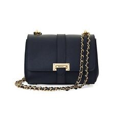 Aspinal of London Ladies Leather The Small Lottie Bag in Navy Pebble.
