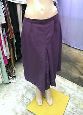 C&A SIXTH SENSE Purple Wool Blend front Pleated  Fully Lined Skirt  UK 18