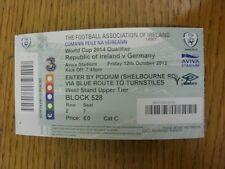 12/10/2012 Ticket: Republic Of Ireland v Germany [At Aviva Stadium] . Thanks for
