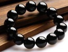 "Charming 10mm Black Onyx Round Beads Gemstone Stretch Bracelet 7.5""AA"