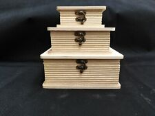 Set Of 3 Wooden Book Style Boxes Display Gift Item Storage Box