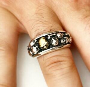 BRAND NEW SKULL RING STERLING SILVER 925 MENS GOTHIC BIKERS RING