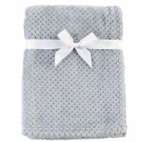 Hudson Baby Boy and Girl Plush Waffle Blanket, Gray