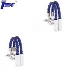 Men Blue Leather Rope Shirt Cufflinks With Velvet Bag TZG Cuff Links