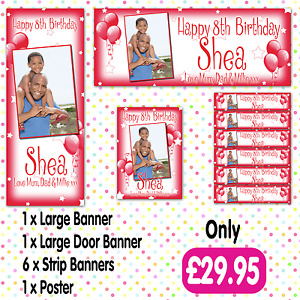 PERSONALISED PHOTO BIRTHDAY PARTY BANNER PACKS ANY AGE, ANY NAME, ANY EVENT A001
