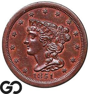 1851 Half Cent, Braided Hair, Choice AU++ Early Collector Copper