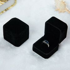Square Black Velvet Ring Box Jewelry Boxes Display Holder Case Gift Brand New