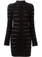**BALMAIN** Striped Fitted High Neck Dress