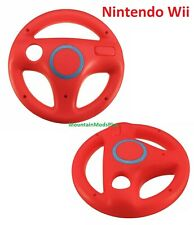 NEW 2pc RED Mario Kart Racing Steering Wheel Nintendo Wii Remote Game Controller