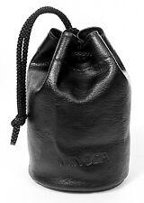 Genuine MINOLTA Lens Pouch. Soft black vinyl case: w/drawstring, firm base NEW