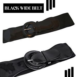 Black Elasticated Belt Classic Stretch D Shape Shiny Buckle Waistband for Women