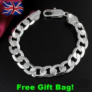 Mens stamped 925 solid silver curb chain link 8mm thick bracelet + Free Gift Bag