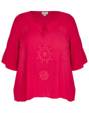 Plus Size Embroidered Cheesecloth Short Sleeve Dark Pink Ladies Tunic Size 16