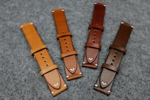 Italian Side Stitch Leather Watch Strap: Sand, Chestnut, Chocolate, Espresso