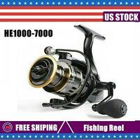 Fishing Reel HE1000-7000 Max Drag 10kg High Speed Metal Spool Spinning Reel US!