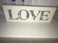 Wooden White Sign 'Love' In Blue Flower Design With Wall Fixings BNIB