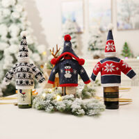 GI- CW_ Christmas Tree Snowman Snowflake Wine Bottle Sweater Cover Cap Table Dec