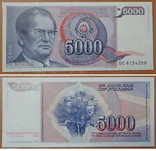 YUGOSLAVIA Paper Money 5000 Dinara 1985 UNC