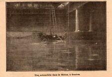 GENEVE UNE AUTOMOBILE DANS LE RHONE IMAGE 1909 CAR AUTO OLD PRINT